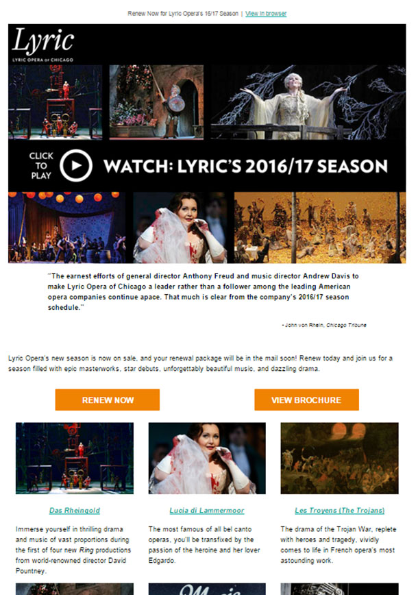 screenshot of Lyric Opera email with Watch Lyric's 2016/17 Season Header
