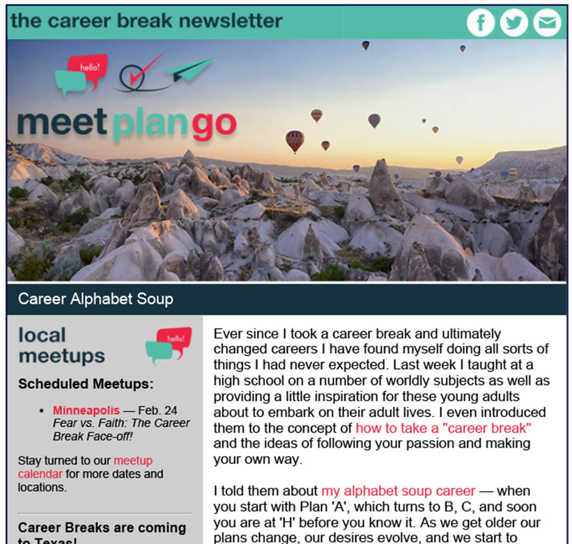Screenshot of an email from MeetPlanGo with hot hair balloons in the header,