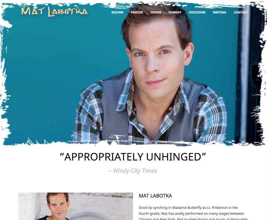 Mat Labotka - Actor Website - Wordpress template