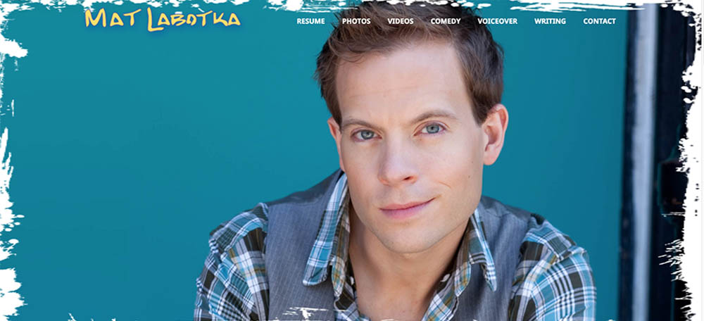 Screenshot of headshot and main page of Mat Labotka's website.
