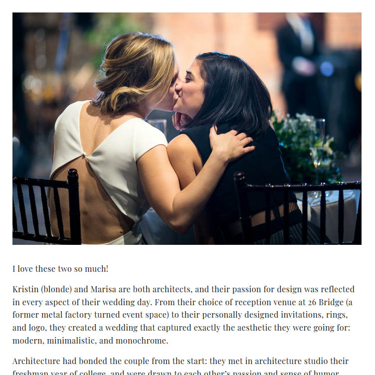 Screenshot of a webpage from Amber Marlow's wedding blog.
