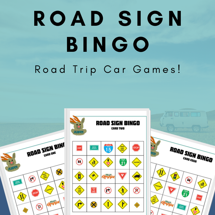 Road Sign Bingo - Road Trip Car Games - Bingo Cards with Road Signs on them Against a Blue Background